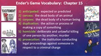 Ender's Game Chapter 15 Vocabulary
