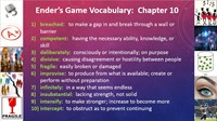 Ender's Game - Vocabulary Chapter 10